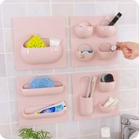 Wholesale 4 Plastic Multifunction Wall Mounted Type Sundries Bathroom Storage Shelves