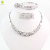 anniversary gift india - Hot Sale African Beads Jewelry Set Fashion Dubai Silver Plated Jewelry Sets India Design For Wedding Brides