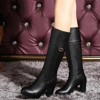 Top Fashion Women Real Leather Bottes Chevalier à talons hauts Chunky Heel Mid Calf Slip on Half Boots Casual Chaussures Femme Ouest Taille 32-43