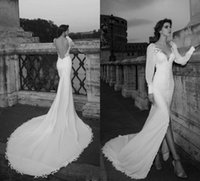 autumn wedding themes - Julie Vino the Theme of Rome Design Satin Mermaid Wedding Dresses with Long Sleeve and Thigh High Slits