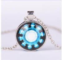 arc reactor - Iron Man Arc Reactor Pendant glass Necklace Art picture Gothic glass cabochon silver choker Necklace for women men Jewelry