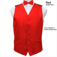 Wholesale Fall Mens Satin Vest Wedding Groom Formal Waistcoat with Optional Bow Tie Set COLOR