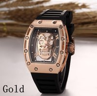 Wholesale Luxury brand Fashion Skeleton Watches men Skull sport quartz watch
