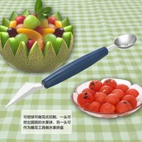 Wholesale Watermelon Melon Fruit Dig Ball Scoop Creative Ice Cream Spoon Baller DIY Assorted Cold Dishes Tool Carving Knife Cutter Gadgets