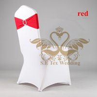 wedding chair covers - White Chair Cover For Wedding And Elastic Buckle Spandex Chair Band Red Color