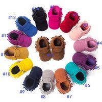 15 mocasines de color suave del bebé única 100% cuero genuino primer caminante zapatos de bebé recién nacido Mate textura zapatos de borlas maccasions zapatos