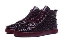 Wholesale New mens womens spikes with wine red patent leather red bottom high top sneakers designer brand top quality flat causal shoes