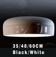aluminum fluorescent lamps - Suspension lampshade Modern Minimalist Nordic Restaurant indoor lamp Red Black And White Aluminum Paint Shinning Pendant Lamp