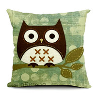 Wholesale Pillow Case Big Eye Owl Printed Scatter Cushion Covers Pillowcase Square Cojin Home Decor Car Seats Soft Pillow Cases Without Filler