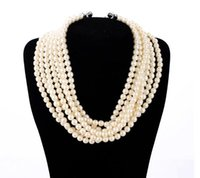 beaded fans - Multi Strands Beaded Pearl Necklace Double Crystal Fan Charms Choker Necklace Popular for Lady