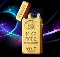 bar electronics - Classic Gold Bars electric Pulse Arc lighter USB charging cigarette lighter Men USB Lighter business Gifts Lighters b246