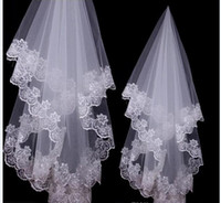 beautiful muslim ladies - Beautiful Hot Sale White Ivory Color Bridal Veils With Lace Edge Lady Veils for Wedding Party