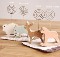 Wholesale South Korea stationery simple wooden Cartoon animal model message a bookmark memo clip to card holder