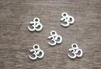 aum ohm - 60ps OM Charms Antique Tibetan Silver Tone Yoga Ohm Aum Symbol charm Pendants x10mm