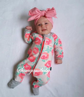 Wholesale Cheap Sleeve Jumpsuits - New Side Zipper Baby Girl's Boy's One Piece Garment Newborn Long Sleeve Rose Print Toddler Jumpsuit Spring Autumn Cheap Cotton Romper MC0159
