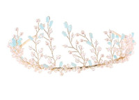 Wholesale Jewelry hair decoration Bridal Wedding Dinner Headdress Queen Crown Rhinestone Hair Accessories golden and blue tiaras