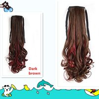 Wholesale Lovely brown horsetail cosplay wigs highlights red hairpiece long hair for girls women personality fashion colorful fluffy hairpiece