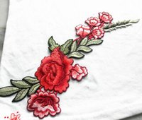 Wholesale 1 pc rose flower embroidery collar DIY Lead paste Accessories Craft Collar Applique Patches Neckline Venise Lace Fabric
