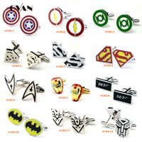 Wholesale Mix Order supper hero avenger cufflinks men cufflinks French shirt cuff nail buckle gift DHL