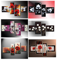 Wholesale hand painted wall art White flowers red the wind landscape oil paintings on canvas set HH4002