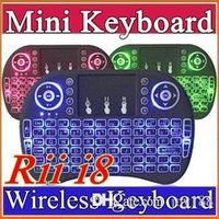 Wholesale 20X Rii I8 Mini Keyboard Wireless Backlight RED Green Blue Light Air Mouse Remote With Touchpad Handheld For T95 M8S S905X S905 TV BOX A FS