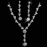 Wholesale Selling Barrettes - 2016 The Best Selling New Cheap Silver plated Holy Pearl & Rhinestone Bridal Jewelry Earring Necklace Set
