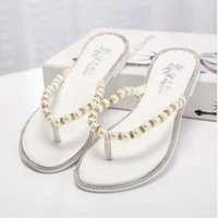 adhesive clips - RC summer new small fragrant wind pearl sandals women diamond beaded flat sandals flat with clip toe sandals and slippers