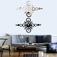 Cheap Fashion Modern Home Decor Round Ring 3D Acrylic Mirror Sticker DIY Wall Clock Watch For Decor Living Room Bedroom Free Shipping