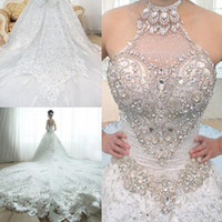 rhinestone applique - Luxury Newest Royal train Crystals Wedding Dresses Ball gown with Beading Rhinestone Backless Appliques Lace Wedding gowns