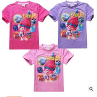 Wholesale 3 Styles Girls Cotton Tees Kids Casual Tops Girls Summer T shirt The Good Luck Trolls Shirt New Movie T shirts for Trolls Costumes