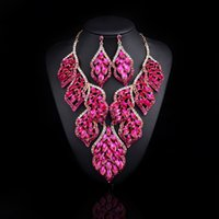 Wholesale New Design Bridal Jewelry Sets Leaves Gold plated Statement Necklace and Earrings for Brides Wedding Party Accessories Women