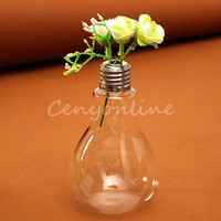 Wholesale 2015 New Bulb Light Glass Plant Flower Vase Hydroponic Container Home Wedding Party Decor