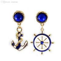 ari fashion - Pair Fashion Cool Stud Earring Sea Style Blue White Navy Sea Styles quot Girls Lady ARI High Quality wholesle