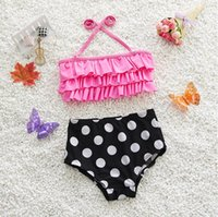 Wholesale Hot New Kids Girls Two Pieces Swimsuit Lovely Dots Underwear and Cake Bra Baby Girl Bikini Cute