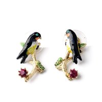 Wholesale France Les Nereides Swallows Series Swallow Branch Earring For Women Elegant Cute Brand Jewelry