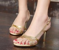 Wholesale spring and summer new sandals female high nobility fine with women shoes Korean popular style golden shoes