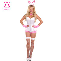adult easter games - White Corset Top and Pink Shorts Easter Bunny Costume Adult Game Role Play Carnival Costumes For Women Cosplay Sexy Costume