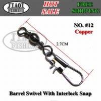 Wholesale 50pcs BS B BARREL SWIVEL WITH INTERLOCK SNAP fishing lure tackle fishing gear accessories Connector copper swivel