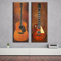 abstract guitar paintings - 2 piece music studio room guitar top decorative wall paintings for home decor idea oil painting art print on canvas No Framed