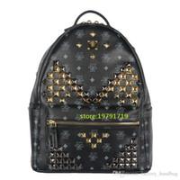 Wholesale 2016 Ladies Backpacks Designer Genuine Leather Backpacks Luxury Handbags Women Fashion School Bags Rivet Backpack Style Totes Sale