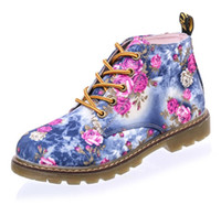 Wholesale LALA IKAI Women Boots Floral Printed Martin Boots Soft Sole Ankle Boots for Women Lace up Platform Shoes Woman