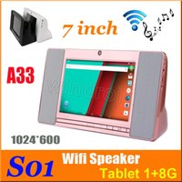 Quad Core smart tablet pc allwinner - S01 WiFi Smart Speaker Sound Box inch Screen Android Allwinner A33 Quad Core GB GB Tablet PC Q88 Mini PC colors Free DHL