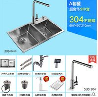 Wholesale set Brushed Stainless Steel Double Bowl Undermount Sink with Faucet kitchen Sink b