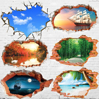 Wholesale Wall scenery D stereo creative bedroom bedside backdrop ceiling living room sofa children s room wall stickers stickers