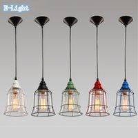 Wholesale Retro Vintage Iron Pendant Light Clear Glass Lamshade Loft Pendant Lamp E27 v V for Dinning Room Home Dcoration Lighting