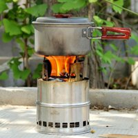 Wholesale Stainless Steel Light Weight Wood Gas Backpacking Emergency Survival Burning Camping BBQ Stove Portable Outdoor