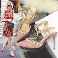Wholesale 2016 New Fashion Designer Two Tone Slingback Sandal mm Red Patent Leather T Strap Pumps Women Rivets High Heels Ladies Shoes