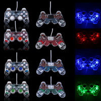Double Shock Joypad Transparente USB2.0 PC Vibration Controller GamePad Joypad para PC portátil