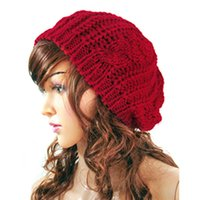 berets for sale - Hot sale New Winter Women Hat Warm Knitted Crochet Slouch Baggy Beret Beanie Hat Cap For Women bonnet femme Y1 Q1