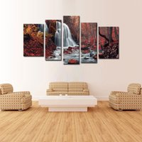 artwork pieces - 5 Pieces Modern Painting Wall Art Waterfall In Autumn Red Maple Forest Landscape Print On Canvas Giclee Artwork For Wall Decor